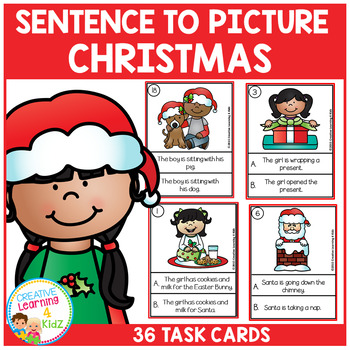 Sentence to Picture Match Task Cards Christmas Set