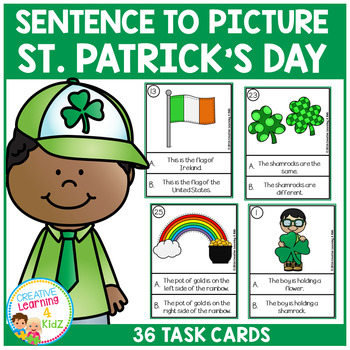 Sentence to Picture Match Task Cards St. Patrick's Day Set