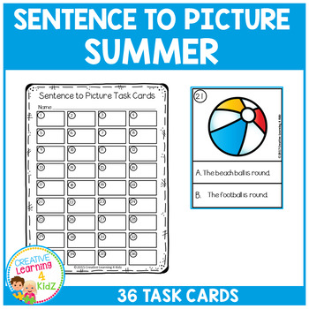 Sentence to Picture Match Task Cards Summer Set