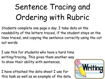 Sentence tracing and ordering with rubric