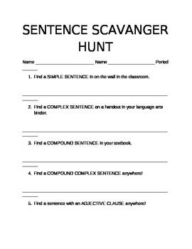 Sentence types scavanger hunt!