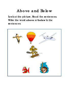 Sentences ABOVE and BELOW Reading Journal Supplement Writing Literacy Center 2pg