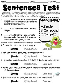 Sentences Assessment: Simple, Compound, Complex