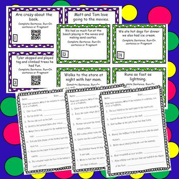 Sentences; Complete, Run-On, and Fragments Task Cards and Worksheets