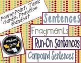 Sentences, Compound Sentences, Fragments, and Run-On Sentences Mini Bundle