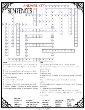 Sentences Crossword