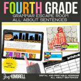 Sentences Escape Room Printable & Digital Activity 4th Grade