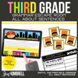 Sentences Escape Room Printable & Digital Activity 3rd Grade