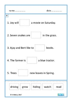 Sentences Fill In The Blanks Cut & Paste, Autism, Special Education