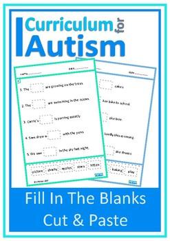Sentences Fill In Blanks Cut & Paste Autism Literacy Speech ESL
