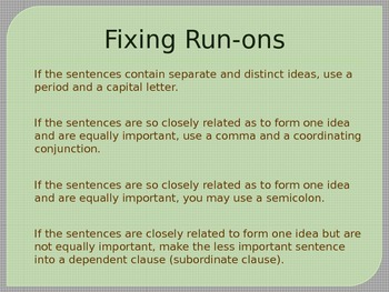 Sentences, Fragments, and Run-Ons Power Point Presentation