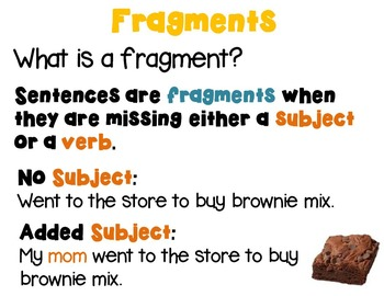 Sentences, Fragments and Run-Ons PowerPoint, Task Cards, Printables L.4.1.F