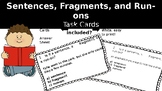 Sentences, Fragments, and Run-Ons Task Cards