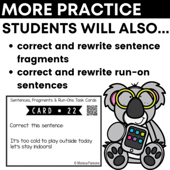 Sentences, Fragments and Run-Ons Task Cards