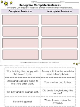 Sentences: Identify Complete and Incomplete Sentences Cut and Paste Activity