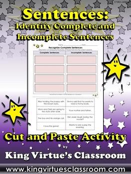 Sentences: Identify Complete and Incomplete Sentences Cut