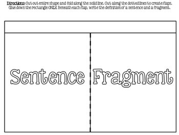 Sentences Interactive Notebook Foldables