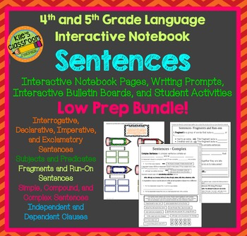 Sentences Interactive Notebook For 4th and 5th Grade Language