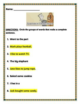 Sentences - Is this a complete sentence? Common Core