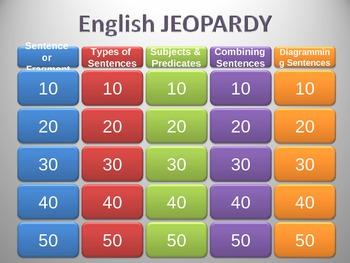 Sentences Jeopardy Game