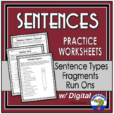 Sentences - Grammar Worksheets on Fragments, Run-ons, and Types of Sentences
