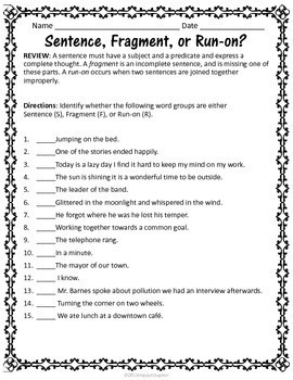 Sentences - Grammar Worksheets on Fragments, Run-ons, and Types of ...