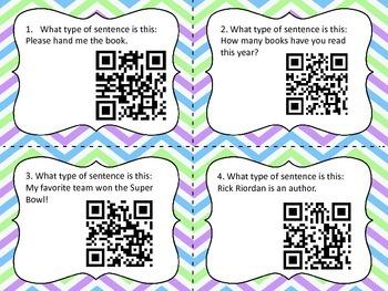 Sentences QR Code Task Cards