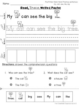A Spoonful of Learning: September Math & Literacy Centers!  |Trace And Write Sight Words