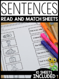 Sentences Read and Match Sheets