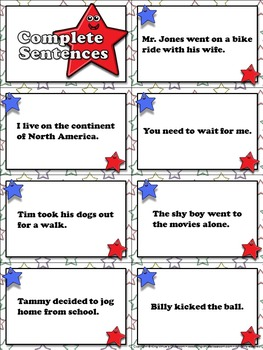 Sentences: Recognize Complete and Incomplete Sentences Matching Game Sort