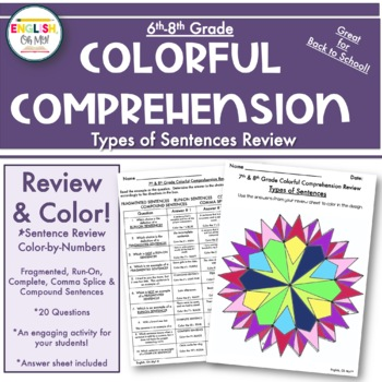 Sentences Review, Fragments, Run-On-Colorful Comprehension, Color by Number