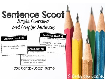 Sentences Scoot- Simple, Compound and Complex Sentences