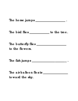 Sentences UP and DOWN Literacy Reading English Worksheets Printable 2 pgs