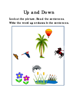 Sentences UP and DOWN Literacy Reading English Worksheets