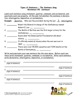 Types of Sentences Worksheet Packet and Lesson Plan - 8 pages plus answer key