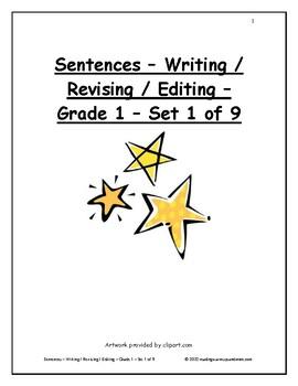 Sentences - Writing / Revising / Editing - Grade 1 - Set 1 of 9
