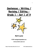 Sentences - Writing / Revising / Editing - Grade 1 - Set 1 of 9