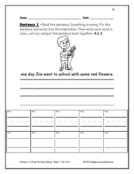 Sentences - Writing / Revising / Editing - Grade 1 - Set 4 of 9