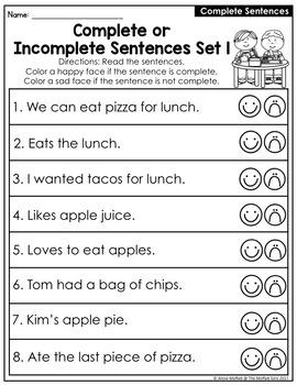 Sentences and Fragments NO PREP Packet