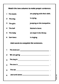 Sentences and Punctuation Worksheets