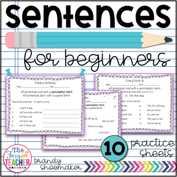 Sentences for Beginners Practice Sheets