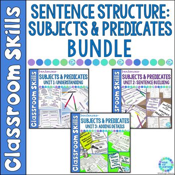 Sentence Structure for Beginners Subjects and Predicates BUNDLE