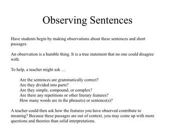 Sentences for Observation - Close Reading Practice