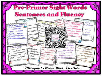 Sentences for Pre-Primer Sight Words Fluency for Seesaw PNGs  Dolch Words