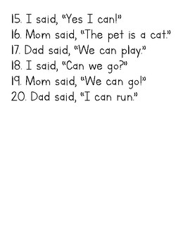 Sentences using CVC words and sight words: said, mom, dad