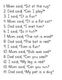 Sentences using CVC words and sight words: said, mom, dad