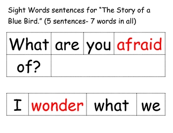 Sentences with High Frequency Words from Trophies Book 5