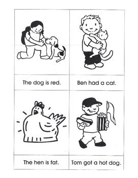 Sentences with Matching Pictures, CVC Words/Orton Gillingham Bk 1-2