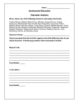 Sentimental Education - Character Analysis Activity - Gustave Flaubert