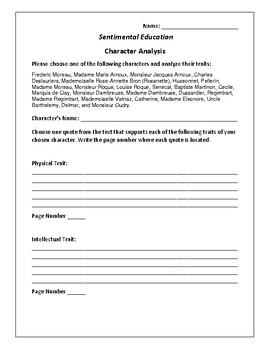 Sentimental Education - Character Analysis Activity - Gustave Flaubert
